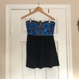 Sequin embroidered strapless top